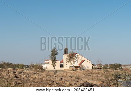 KEETMANSHOOP NAMIBIA - JUNE 13 2017: The Our Lady of Perpetual Help Roman Catholic Church in Keetmanshoop the capital town of the Karas Region of Namibia