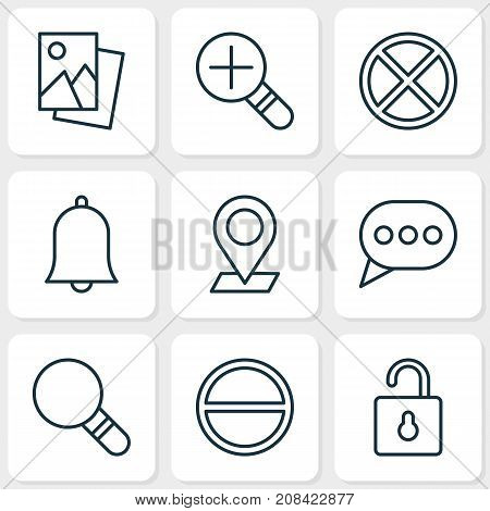 Network Icons Set. Collection Of Message Bubble, Bell, Exit And Other Elements