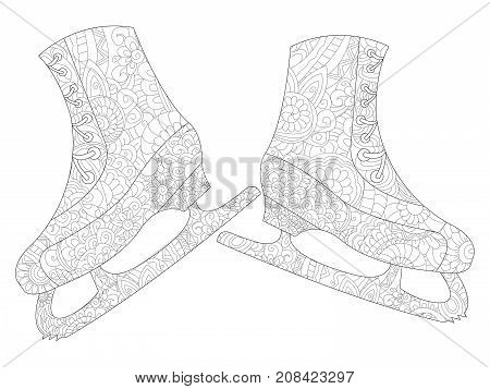 A pair of skates coloring book for adults raster illustration. Anti-stress coloring for adult. Zentangle style. Black and white lines. Lace pattern feline