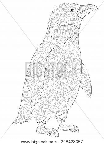 Penguin coloring book for adults raster illustration. Anti-stress coloring for adult. Zentangle style. Black and white lines. Lace pattern feline