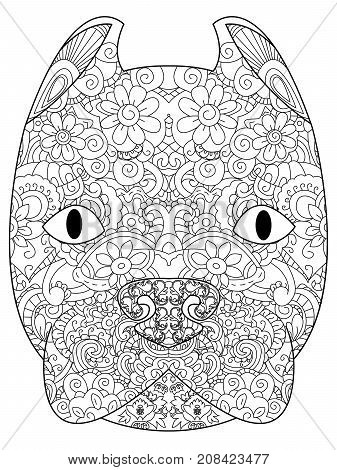 good American Pit Bull Terrier head coloring book for adults raster illustration. Anti-stress coloring for adult. Zentangle style. Black and white lines. Lace pattern Dog breed