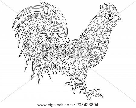 Cock coloring book for adults raster illustration. Anti-stress coloring for adult rooster. Zentangle style bird chicken. Black and white lines. Lace pattern