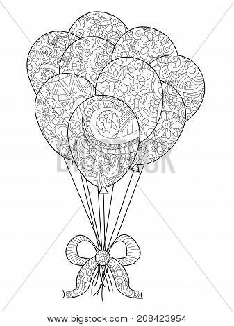 Group of balloons on a string coloring book for adults raster illustration. Anti-stress coloring for adult. Hand drawn, isolated on a white background. Zentangle style. Black and white. Lace pattern