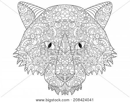 good Wolf head coloring book for adults raster illustration. Anti-stress coloring for adult. Zentangle style. Black and white lines. Lace pattern