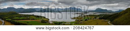 Panorama seascape with mountains and islands Lofotens Norway