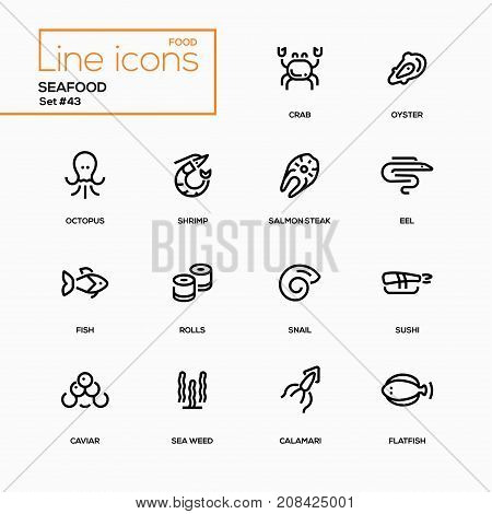 Seafood concept - line design icons set. Sea animals, marine products for menu, bar, restaurant. Crab, sushi, salmon steak, oyster, eel, snail, flatfish, octopus, shrimp, calamari, fish, rolls, caviar, weed