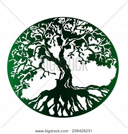A green stamp is a tree of life with dense roots. Green planet is an idea for a logo