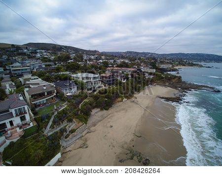 Aerial View Of Shaws Cove, Laguna Beach, California.