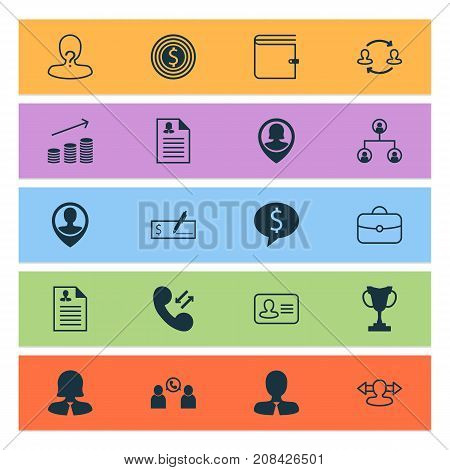 Resources Icons Set. Collection Of Curriculum Vitae, Anonymous, Call And Other Elements