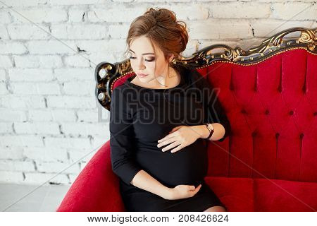 Beautiful Pregnant Woman Sitting On A Red Sofa. In Anticipation Of The Birth Of The Child. Pregnancy