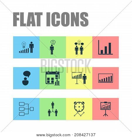 Administration Icons Set. Collection Of System Structure, Planning, Presentation Date And Other Elements
