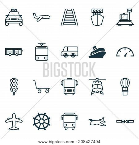 Vehicle Icons Set. Collection Of Car Vehicle, Flight Basket, Lorry And Other Elements