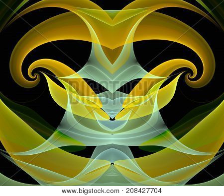 Computer generated fractal artwork with semitransparent ornament