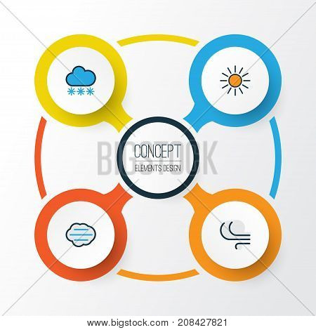 Climate Colorful Outline Icons Set. Collection Of Windy, Snowing, Tempest And Other Elements