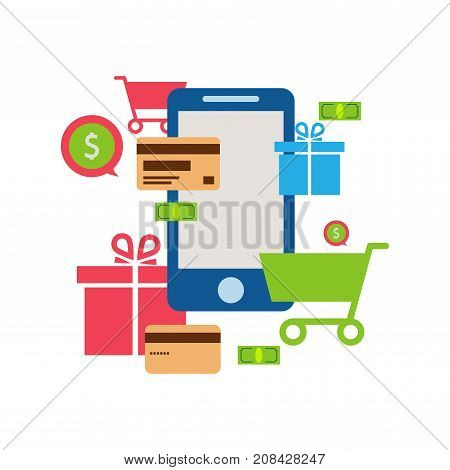 Mobile online store smartphone cart : concept of mobile phone order purchase internet shop showcase ecommerce.