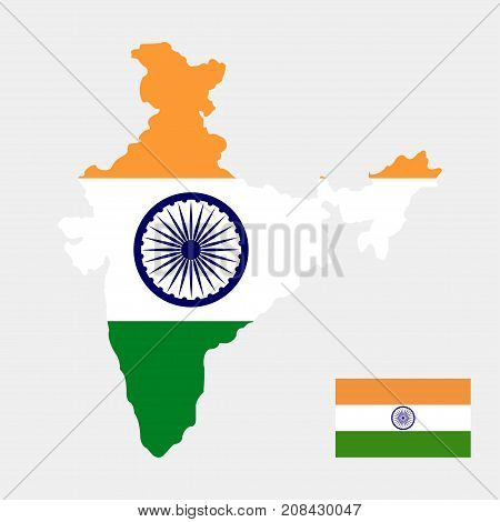 Territory and flag of India on a grey background. Vector illustration.