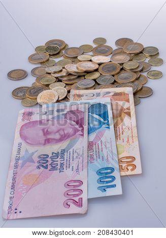 American Dollar And Turksh Lira Banknotes