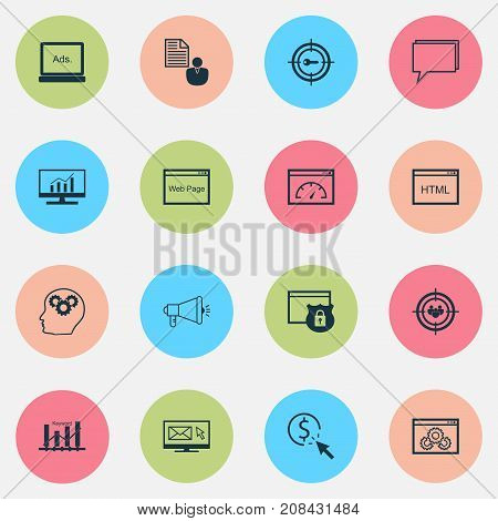 Marketing Icons Set. Collection Of Website, Focus Group, Security And Other Elements