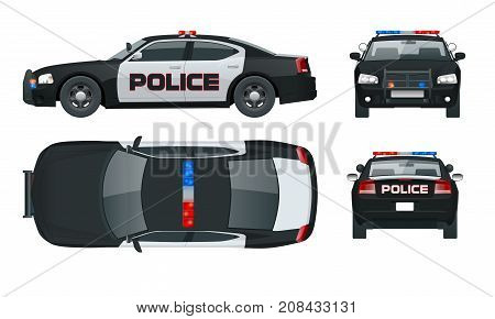 Vector Police car with rooftop flashing lights, a siren and emblems. Template isolated illustration. View front, rear, side, top. Change the colour in one click