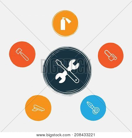 Apparatus Icons Set. Collection Of Gasoline Cutter, Clippers, Screwdriver With Wrench And Other Elements