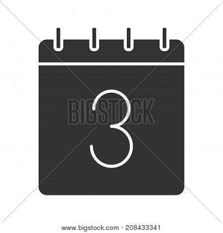 Third day of month glyph icon. Date silhouette symbol. Calendar with 3 sign. Negative space. Vector isolated illustration