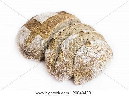 Photo of a brown, sliced (sourdough), bread on a white background.