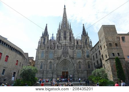 BARCELONA - JUN. 9, 2013: Cathedral front facade, Old Town Barcelona, Spain. Barcelona Cathedral of the Holy Cross and Saint Eulalia was built in 14th century in Old City Ciutat Vella Barcelona.