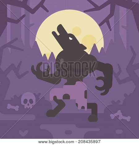 Werewolf Howling At The Moon In A Dark Forest At Night. Trick Or Treat. Halloween Flat Illustration