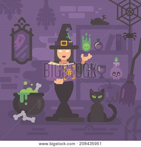 Witch In Her House Studying Magic. Young Sorceress Casting A Magic Spell. Witch Kitchen With Magic I