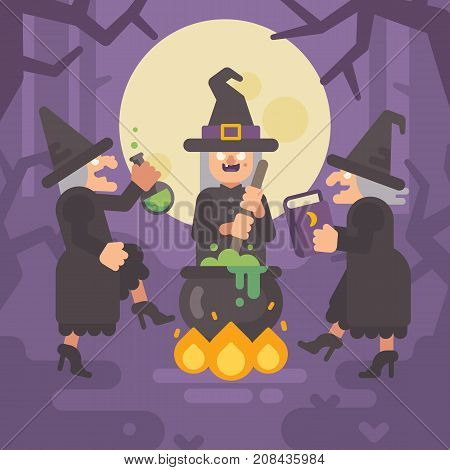 Three Wicked Old Witches Brewing A Potion. Three Evil Sisters Dancing Around The Fire And Cauldron I