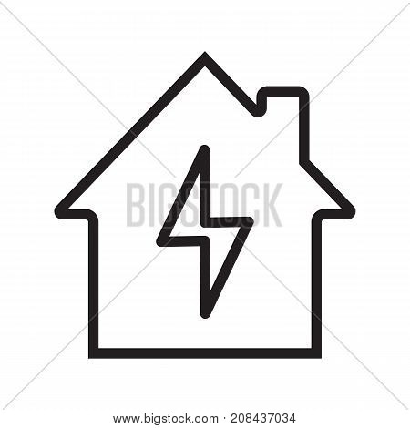 Home electrification linear icon. Thin line illustration. House with lightning bolt inside. Contour symbol. Vector isolated outline drawing