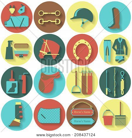 Set of 16 round flat vector icons with different horse and riding equipment