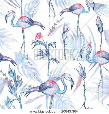 Seamless texture with frosty blue tropical plants, flowers and birds on white background for textile and wallpaper design