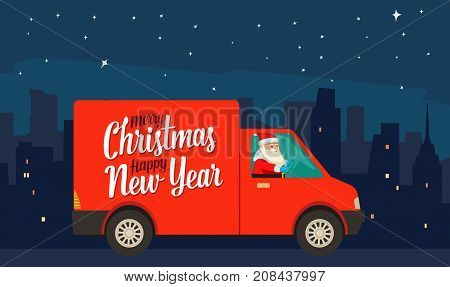 Santa Claus is driving red delivery van in the night city. Product goods shipping transport for New Year and Merry Christmas. Flat vector color illustration for poster, gretting card