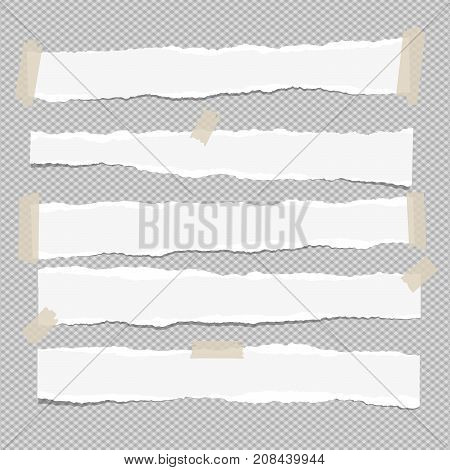 White ripped paper strips for note or text stuck with sticky tape on gray background