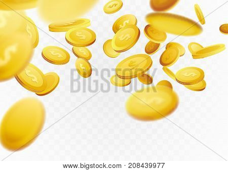 Cash golden coins flying through scene concept background. Fortune million dollar lottery games reward. Casino prize money. Vector illustration