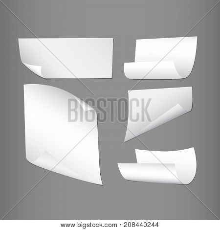 White curl, bend paper notebook sheets for note or message on gray background