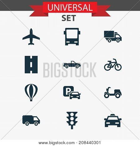 Transport Icons Set. Collection Of Cab, Road Sign, Aircraft And Other Elements