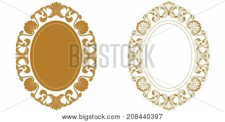 Golden vintage oval graphical frame in antique style. Vector.