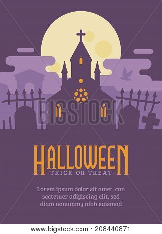 Halloween Poster With Gothic Cemetery And A Haunted Chapel. Haunted Graveyard Flat Illustration Flye