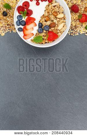 Muesli Breakfast Fruits Yogurt Strawberries Cereals Bowl Slate Portrait Format Copyspace Top View