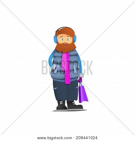 A bearded man with headphones. Down jacket and purple scarf. Hipster.