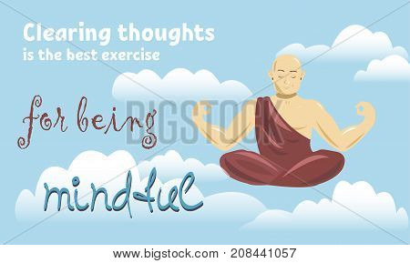 Buddhist man meditating in the sky. Spiritual growth. The path to enlightenment. Mindful meditation concept illustration vector.