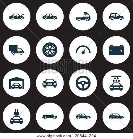 Auto Icons Set. Collection Of Drive Control, Wheel, Accumulator And Other Elements