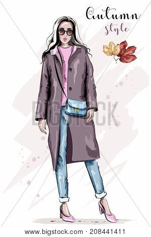 Stylish hand drawn woman in coat. Beautiful fashion woman in sunglasses. Fashion autumn outfit. Sketch.