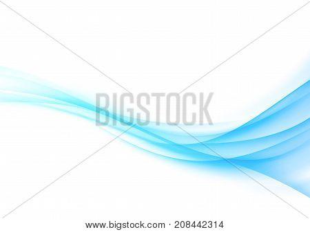 Bright abstract elegant hi-tech modern blue gradient swoosh lines background. Speed smoke border wave over white. Vector illustration