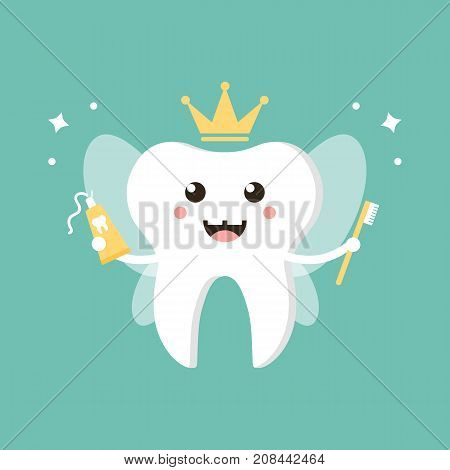 Cute cartoon tooth fairy with toothpaste and brush vector flat design illustration.