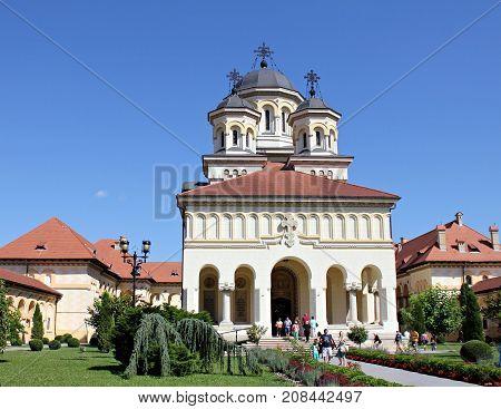 ALBA IULIA, ROMANIA - JUNE 18 : People visiting Orthodox Cathedral in Alba Iulia - Romania