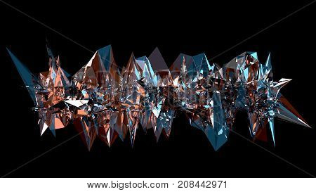 3D abstraction. A long spiky object made of reflective glass, with blue and orange colors reflecting from it's edges. Modern style art decoration.