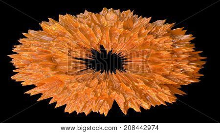 Orange abstract oval spiky decoration. 3D render.